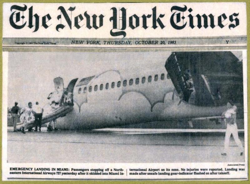 1983 - The New York Times - Northeastern B727-21 N357PA landing incident and evacuation