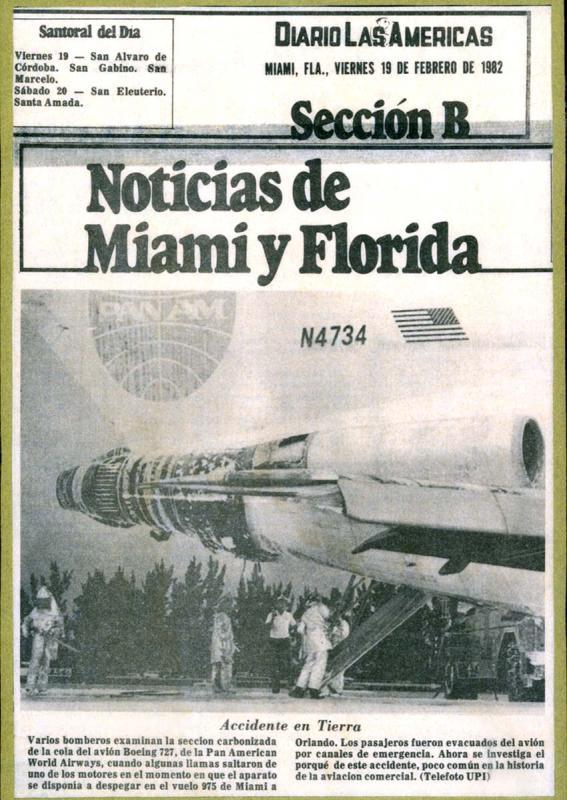 1982 - Diario las Americas - Pan Am B727-235 N4734 Clipper Charmer engine fire