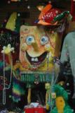 Sponge Bob decorates a gallery window