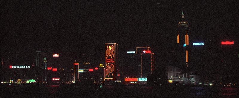 Hong Kong skyline in the Christmas Season seen from Tsim Sha Tsui, the southern tip of Kowloon