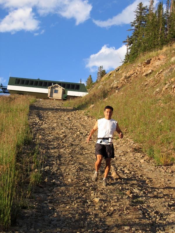 Don runs down Clayton Peak<br>10,500 ft.</br>
