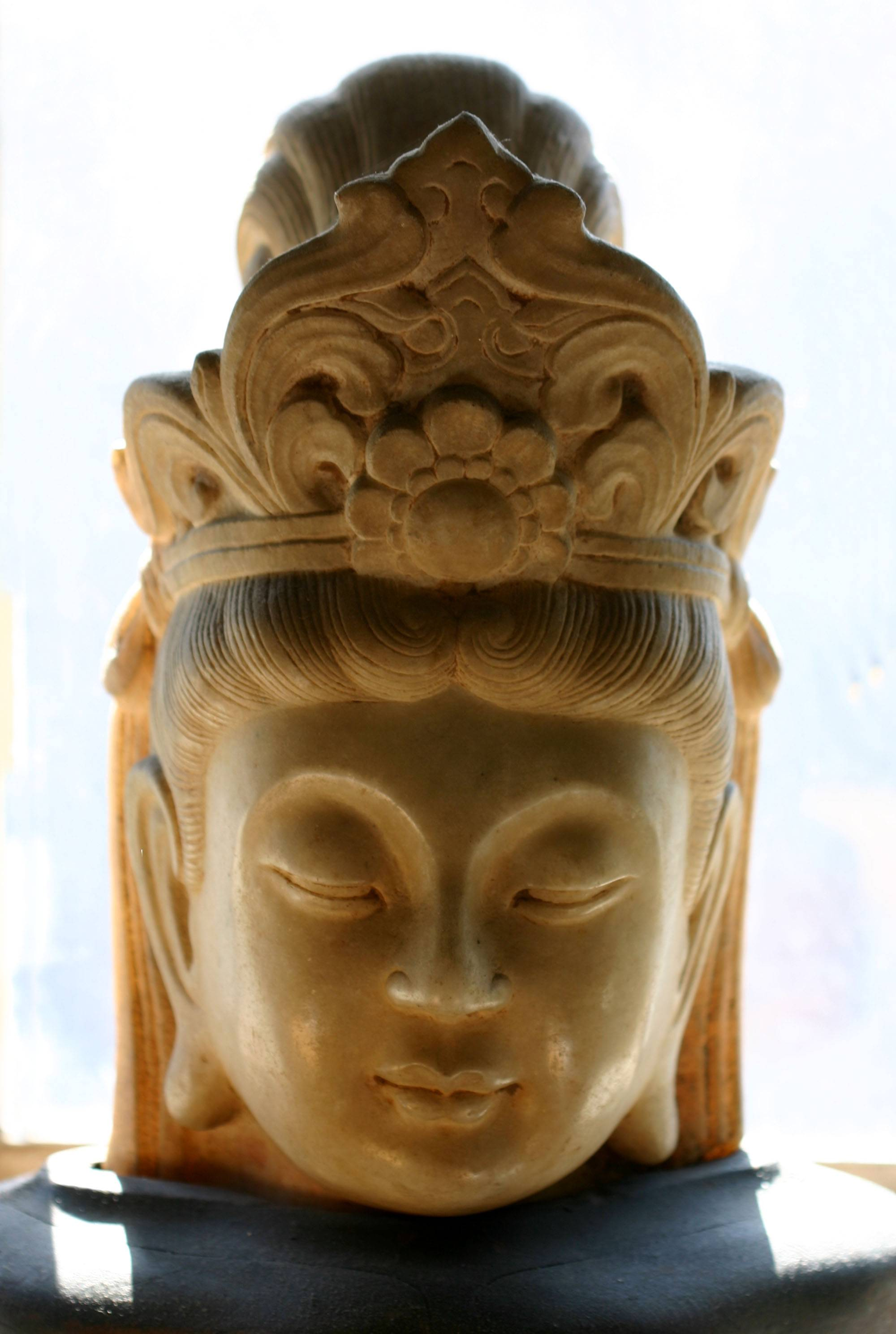 Kuan Yin, Goddess of Mercy & Compassion - Chinese Marble Head, 18 inches high