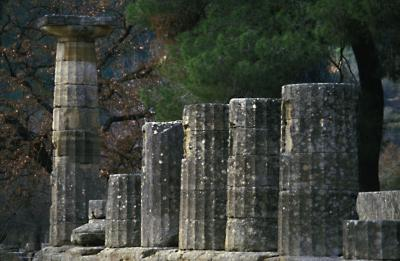 Columns of the temple of Zeus Olympia Greece
