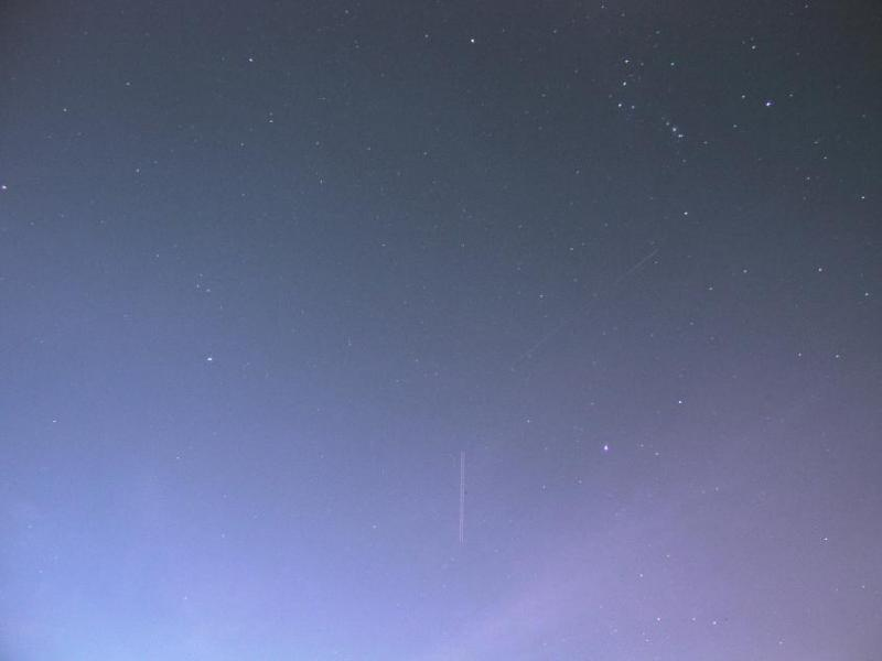 Very faint shot of the ISS (and a passing airplane), Melbourne, FL