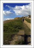 Walking up the cliff path, West Bay, Dorset