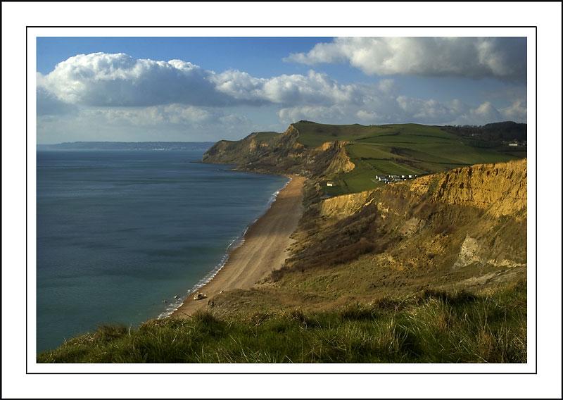 Empty beach beyond West Bay, Dorset