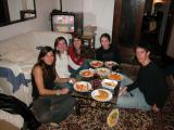 Having dinner all together... I had to prepare pasta for 12 people....