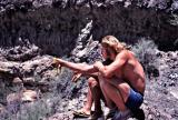 Oarsmen studying route through Lava Falls rapids