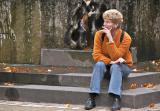 A pensive tourist