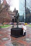 Natasha in front of Trinity Church, Boston
