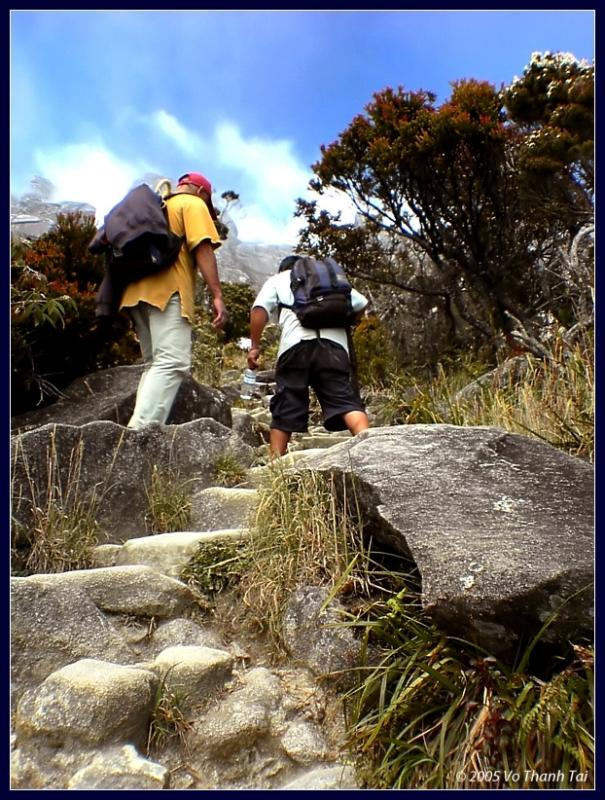 Climbers ascending Mt Kinabalu