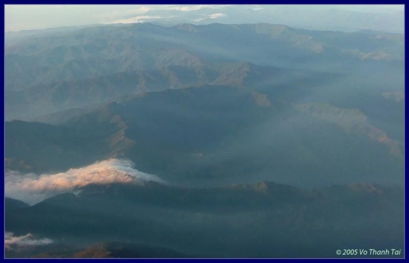 Flows of morning mist over hills