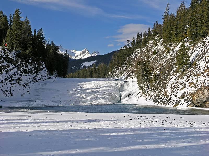 Bow Falls beneath Banff Springs Hotel