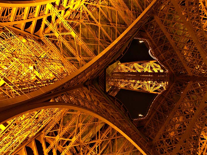 Neck-craning view of the Eiffel Tower