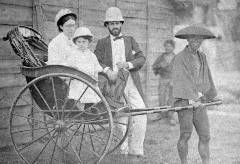 Emma, Stella, Charles H. D. Fisher, abt. 1884 in Tokyo, Japan