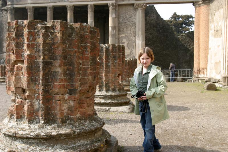 Katie shows the scale of the column