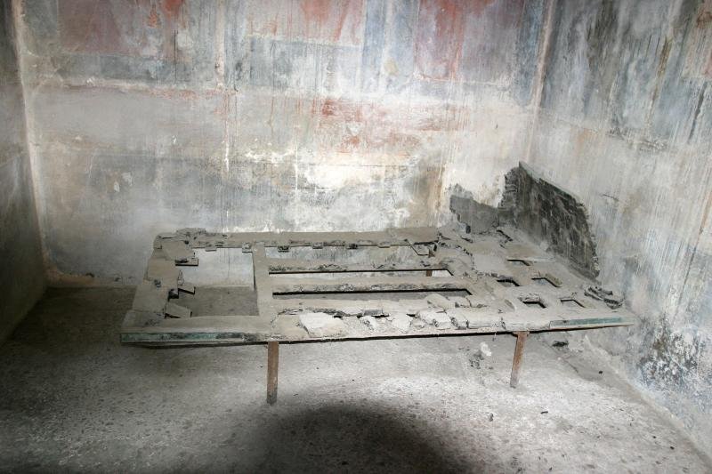 A wooden bed found in the excavation.