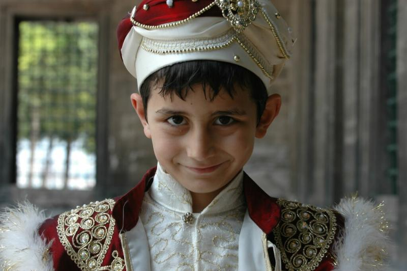 Istanbul at Selimiye Mosque boy in circumcision dress