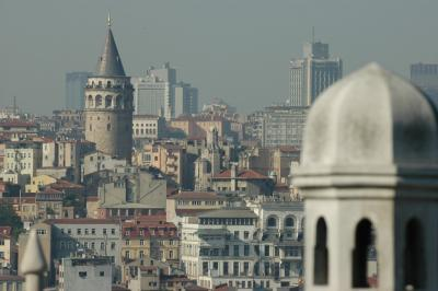 207 Istanbul  view from Suleyman Mosque complex Galata  Tower june 2004