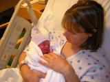 Angie with 1 hour old Brooks