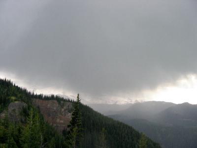 Mt. Rainier is enshrouded by clouds