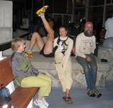 Leahs Mom, Sharon, Leah & Hippie w/Scott stretching