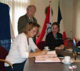 Het bestuur van de Stichting Jumelage Warmond  -  Champigné, september 2003