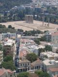 view from Acropolis onto old Olympic Stadium in Athens