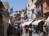 Olympic feel on streets of old town Plaka in Athens!