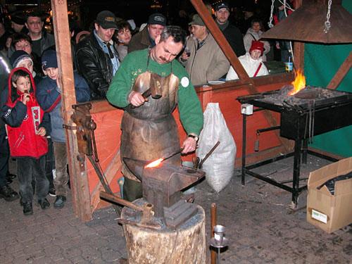 Blacksmith at Vorosmarty christmas fair