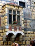 Coats-of-arms on oriel, 4th courtyard in Cesky Krumlov castle