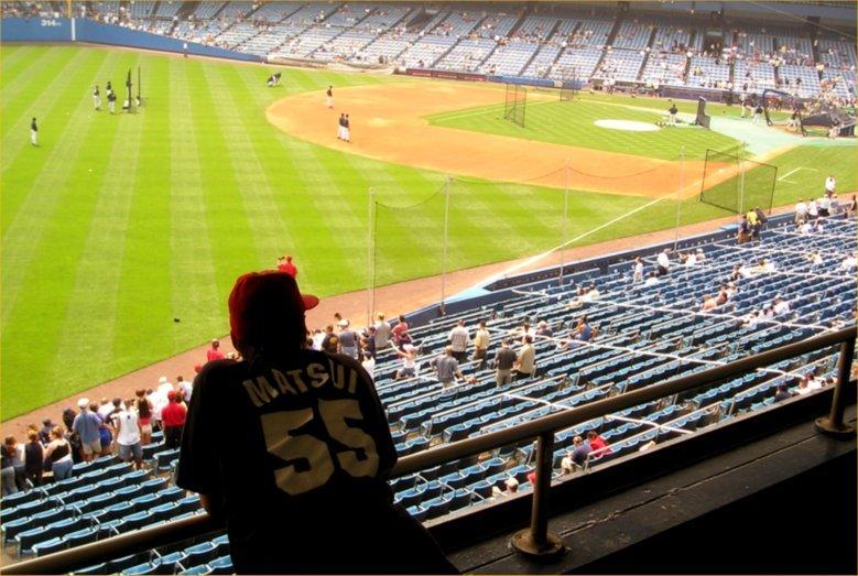 Batting practice at Yankee Stadium