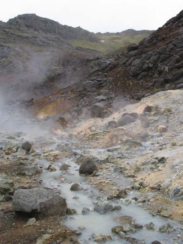 Steam rising from geyser hotspots