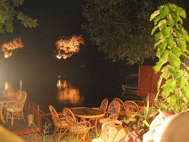 First (good!) Dalyan dinner, at fantastic Beyaz (Gul?) with views<br>of rock tombs across the river, lit at night.