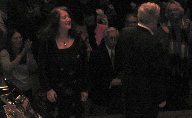 Argerich often turned to acknowledge center terrace crowd at stage-back