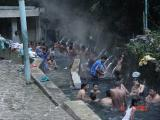 Bathing in hot water pool