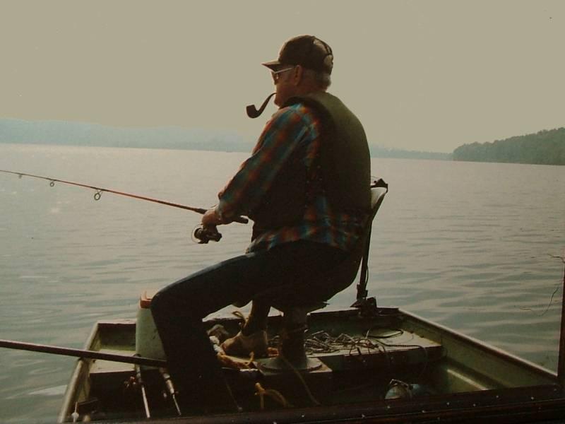 Clyde fishing on Kentucky Lake