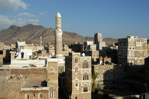 View of Old Sanaa from the top of the Arabia Felix Hotel