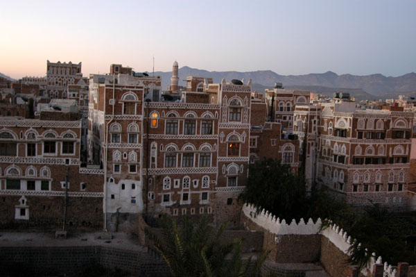 View from the Arabia Felix Hotel of Old Sanaa at dawn