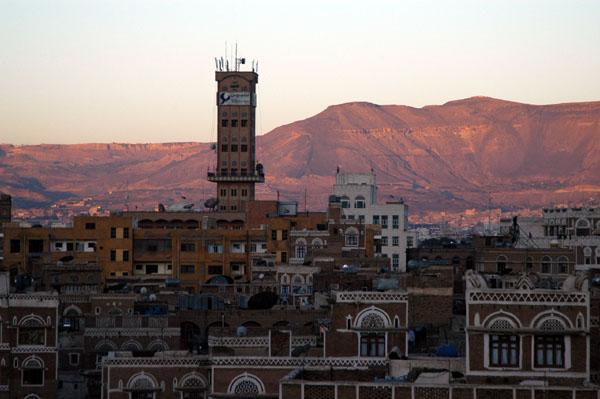 View towards Tahrir Square from the Arabia Felix Hotel, Sanaa