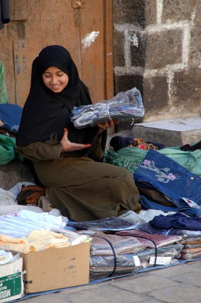 Girl street vendor, Sanaa, Yemen