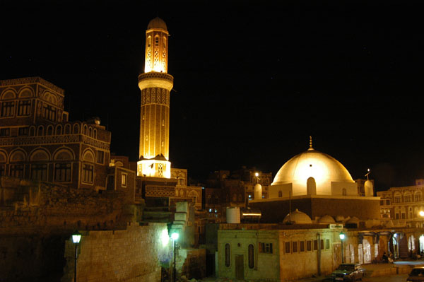 Qubbat al-Mahdi Mosque at night, Old Town Sanaa