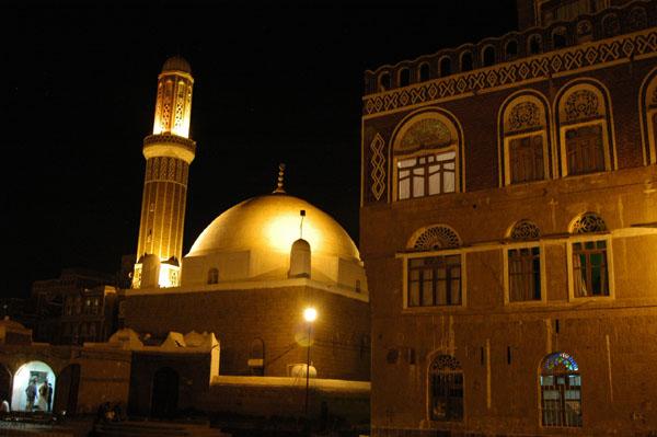 Qubbat al-Mahdi Mosque at night, Old Town Sanaa