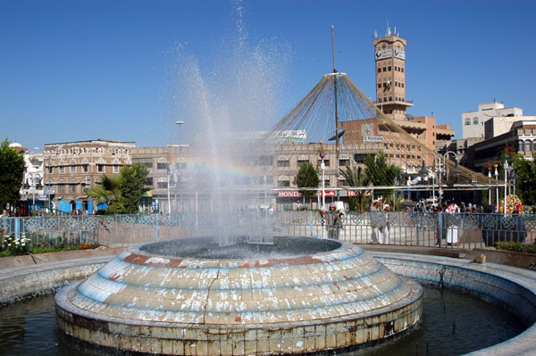 Fountain on Al-Tahrir Square, the focal point of the newer part of Sanaa