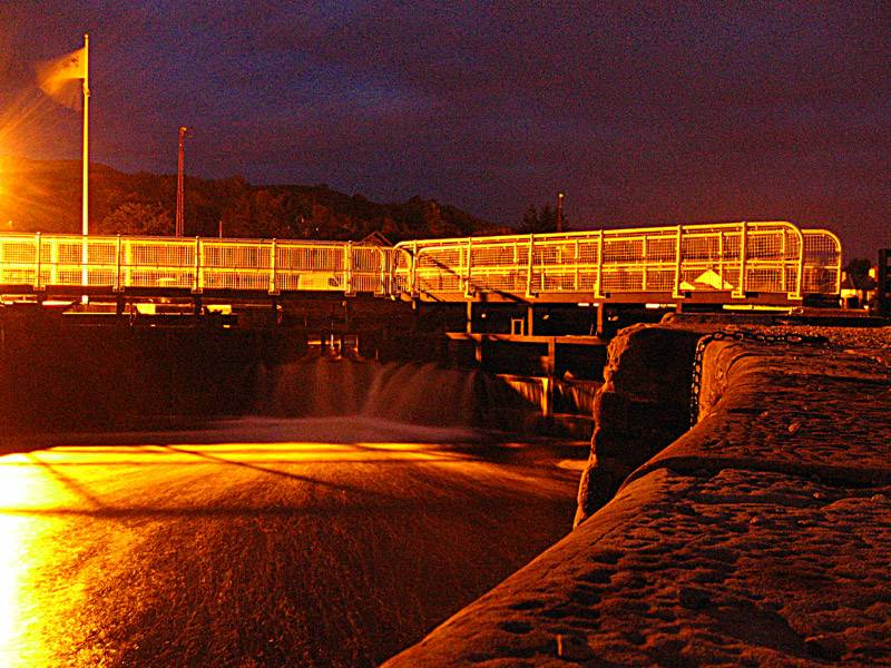 Locks Corpach at night