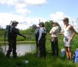 Preparing to start fish survey at Joy's Road