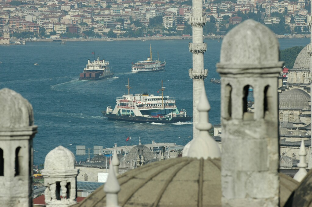 204 Istanbul  view from Suleyman Mosque complex New Mosque and Bosporus june 2004