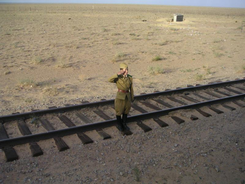 Mongolian salute at the border
