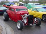 red Ford 5 window coupe