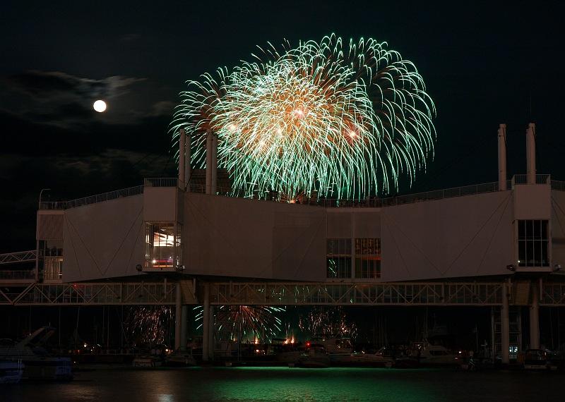 Green Fireworks and Moon.jpg